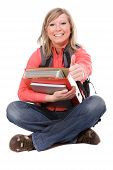 picture of bagpack  - photo of casual student isolated over white background - JPG