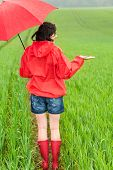 Lively girl with umbrella watching upcoming storm