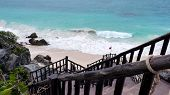 stock photo of yucatan  - Stairs leading to the famous sandy beach in Tulum - JPG