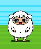stock photo of kawaii  - Kawaii style sheep character on the lawn - JPG
