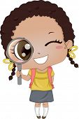 Illustration of Cute African-American Girl holding a Magnifying Glass