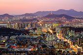 foto of seoul south korea  - Aerial twilight view of Seoul - JPG
