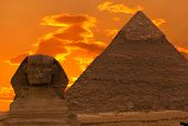 stock photo of guardian  - The Sphinx and the Great Pyramid in Egypt - JPG