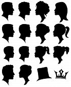 stock photo of ponytail  - Vector Set of Female and Male Adult and Child Cameo Silhouettes - JPG