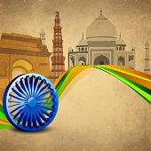 foto of ashoka  - 3D Ashoka wheel with national flag colors and famous monuments background - JPG