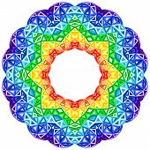 stock photo of kaleidoscope  - Rainbow kaleidoscope vector vibrant circle - JPG