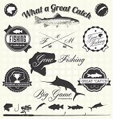 stock photo of hook  - Collection of vintage style gone fishing labels and icons - JPG