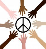 Hands Around Peace Symbol