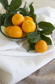 image of pixie  - Several pixie tangerines from Ojai California on a table - JPG