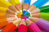 stock photo of pencils  - many colored pencil in circle of rainbow - JPG