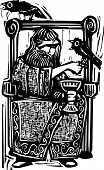 pic of throne  - Woodcut expressionist style image of the Norse god Odin or Wotan sitting on a throne with his ravens - JPG