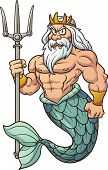 stock photo of poseidon  - Cartoon Poseidon - JPG