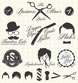 image of bowler  - Collection of retro style barber shop labels and icons - JPG