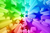 picture of starburst  - Colorful burst of stars - JPG