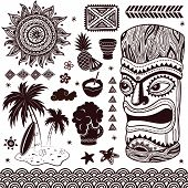 stock photo of tiki  - Vintage Aloha Tiki illustration - JPG