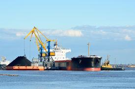 foto of coal barge  - cargo ship loading in coal cargo terminal - JPG