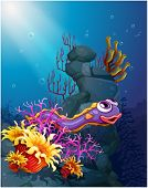 picture of underworld  - Illustration of an eel under the sea with coral reefs - JPG