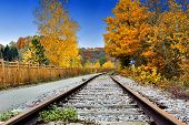 Autumn Landscape With Railway Track