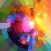 picture of pixel  - Abstract colorful shining circle tunnel lined background - JPG