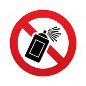 picture of spray can  - No Graffiti spray can sign icon - JPG