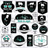 picture of moustache  - Collection of vintage hipster badges - JPG