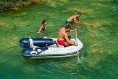 KRKA NATIONAL PARK, CROATIA - JUL 28: Life guard surveilling tourists on July 28, 2012 in Krka Natio
