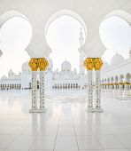 gorgeous marble portico of grand mosque in Abu Dhabi