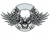 pic of skull crossbones flag  - skull with goggle and racing flag behind - JPG