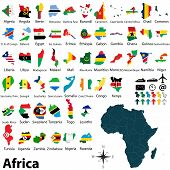 image of political map  - Vector of political map of Africa set with maps and flags on white background - JPG