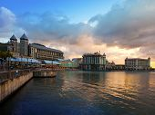 stock photo of mauritius  - The embankment at sunset Port - JPG