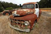 image of truck farm  - Wide angle shot of old rustic truck - JPG