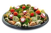foto of sandwich wrap  - Isolated platter of assorted meat tortilla wraps - JPG