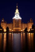 MOSCOW - JUNE 11: Moscow State University at night on June 11, 2013 in Moscow