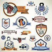 stock photo of health center  - gym fitness emblems collection - JPG