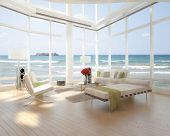 A 3D rendering of loft apartment interior with seascape view