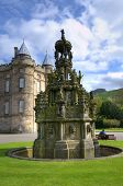 EDINBURGH - MAY 28: Fountain in the Palace of Holyroodhouse, official residence of the Monarch of th