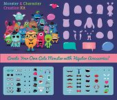 image of combinations  - Hipster Freaky Monster and Character Creation Kit - JPG