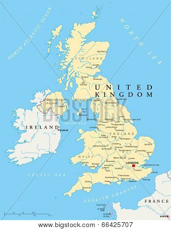 United Kingdom Political Map poster