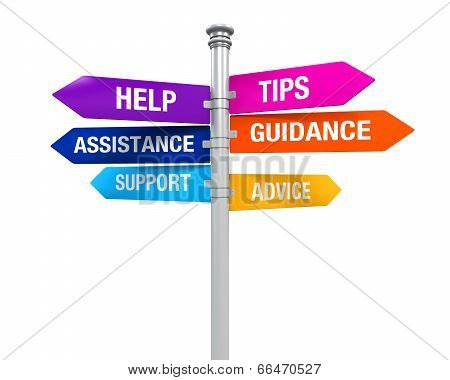 Sign Directions Support Help Tips Advice Guidance Assistance poster