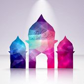 stock photo of hari raya aidilfitri  - Vector Polygonal Crystal Mosque - JPG