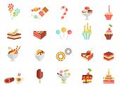 stock photo of cream cake  - Cake candy and ice cream icons with assorted slices and wedges of cake  cupcakes  ice lolly  ice cream  sundae  parfait  doughnut  coffee and a birthday cake  vector illustration - JPG