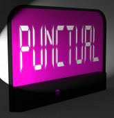 stock photo of punctuality  - Punctual Digital Clock Showing Timely And On Schedule - JPG