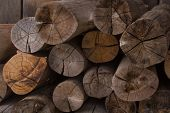 stock photo of firewood  - Firewood as fuel, as a raw material to life. ** Note: Soft Focus at 100%, best at smaller sizes - JPG