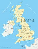 picture of political map  - Political map of United Kingdom with capital London - JPG