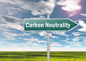 picture of neutral  - Signpost Image Illustration with Carbon Neutrality wording - JPG