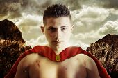 stock photo of sparta  - Proud and wounded warrior fighter at highlands - JPG