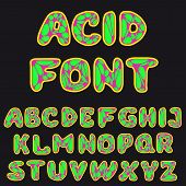 picture of psychodelic  - vector illustration of psychodelic alphabet for design - JPG