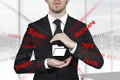 stock photo of malware  - businessman in black suit protecting folder with hands from internet attack malware - JPG