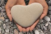 image of sweethearts  - Female hands holding a natural heart - JPG