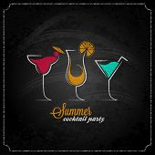 foto of cocktail menu  - cocktail summer party chalk design menu background 10 eps - JPG